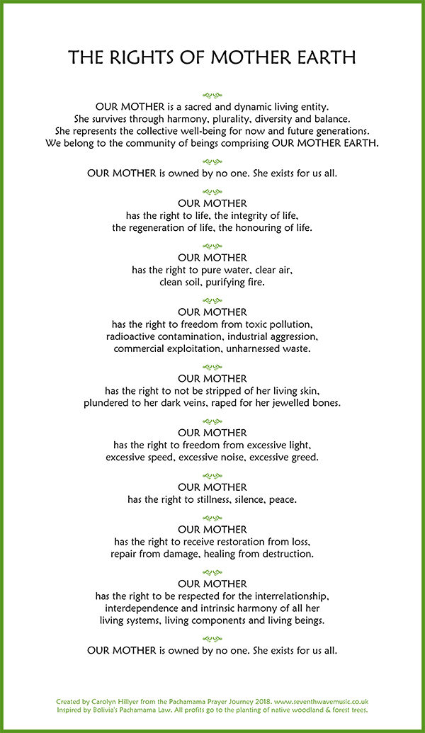 THE RIGHTS OF MOTHER EARTH tea towel - Seventh Wave Music